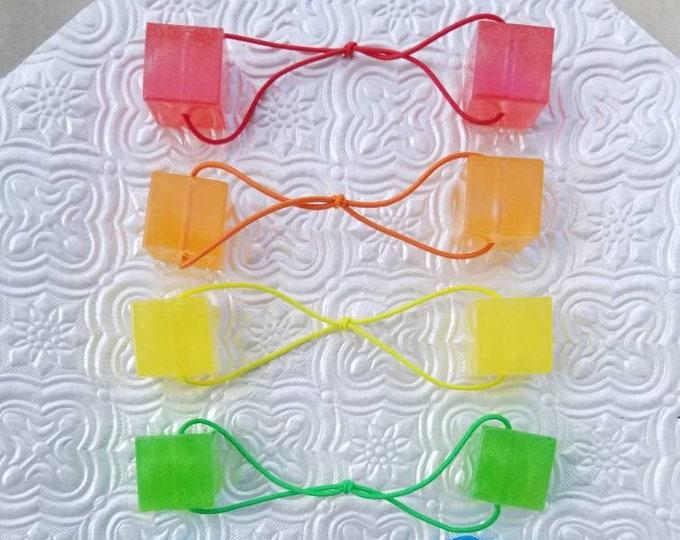 Resin Cube Hair Bows- Rainbow 6pc Set