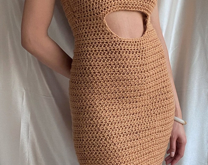 Cutout bodycon dress with pearl details
