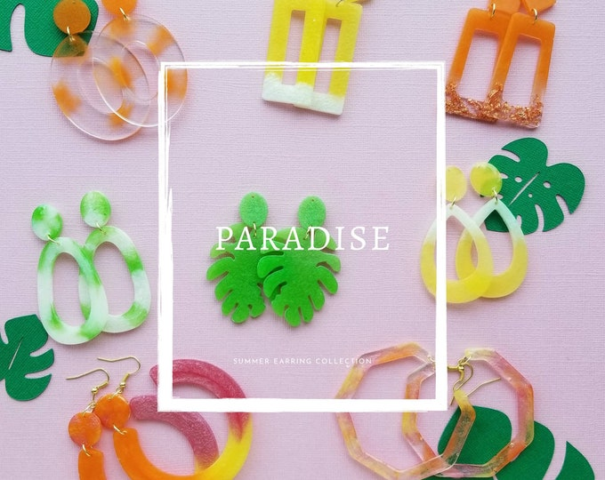 Resin dangle statement earrings- Paradise collection