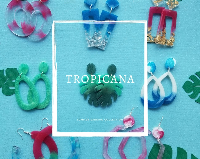 Resin dangle statement earrings- Tropicana collection
