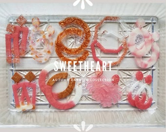 Resin dangle statement earrings- Sweetheart collection