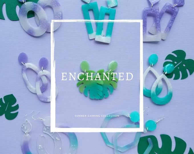 Resin dangle statement earrings- Enchanted collection