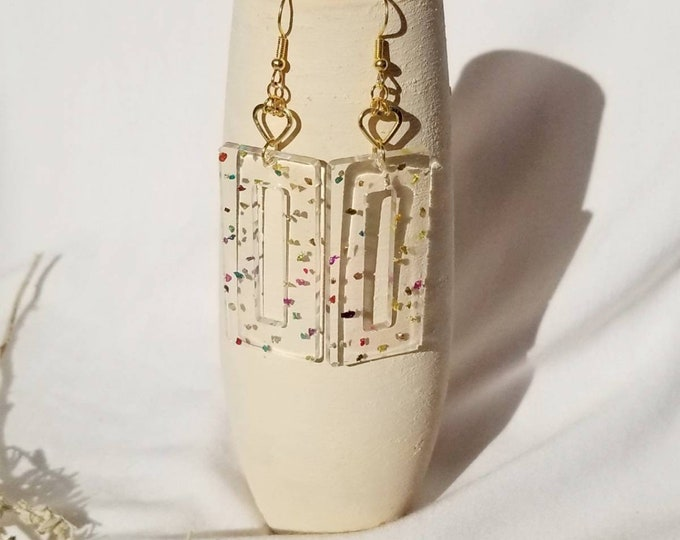 Resin dangle statement earrings- Confetti collection