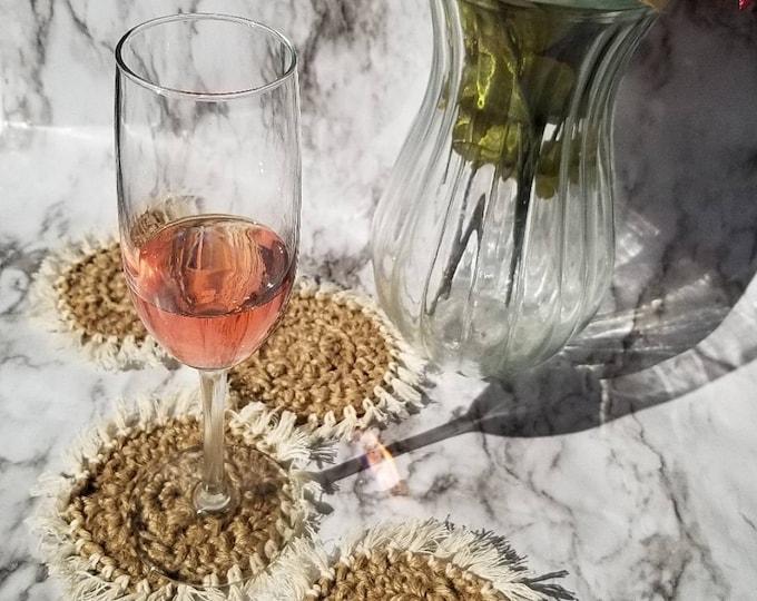 Crochet fringe coasters
