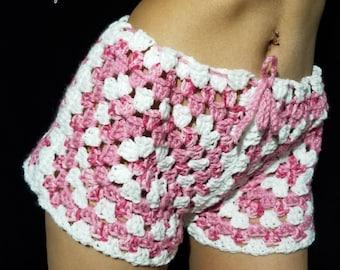 Granny square pajama shorts