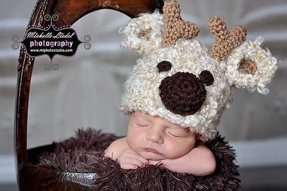 743b5605513 Cream Reindeer Hat Baby Photography Prop Sizes Preemie