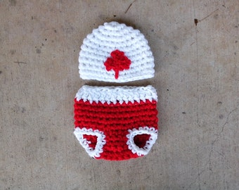 Canadian Flag Set Beanie and Diaper cover Baby Newborn Photography Prop