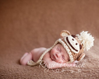 Monkey Earflap Baby Newborn Crochet Photography Prop