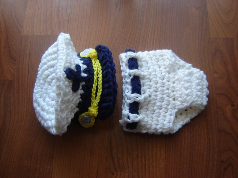 460a2b54f Sea Captain Marine Baby Boy Crochet Set Hat and Diaper Cover Photography  Prop All Sizes from Newborn to Adult