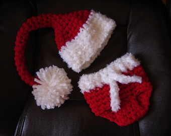 Santa's  Set Hat and the Diaper Cover Baby Photography Prop Sizes Preemie, Newborn, 0-3 months, 3-6 months