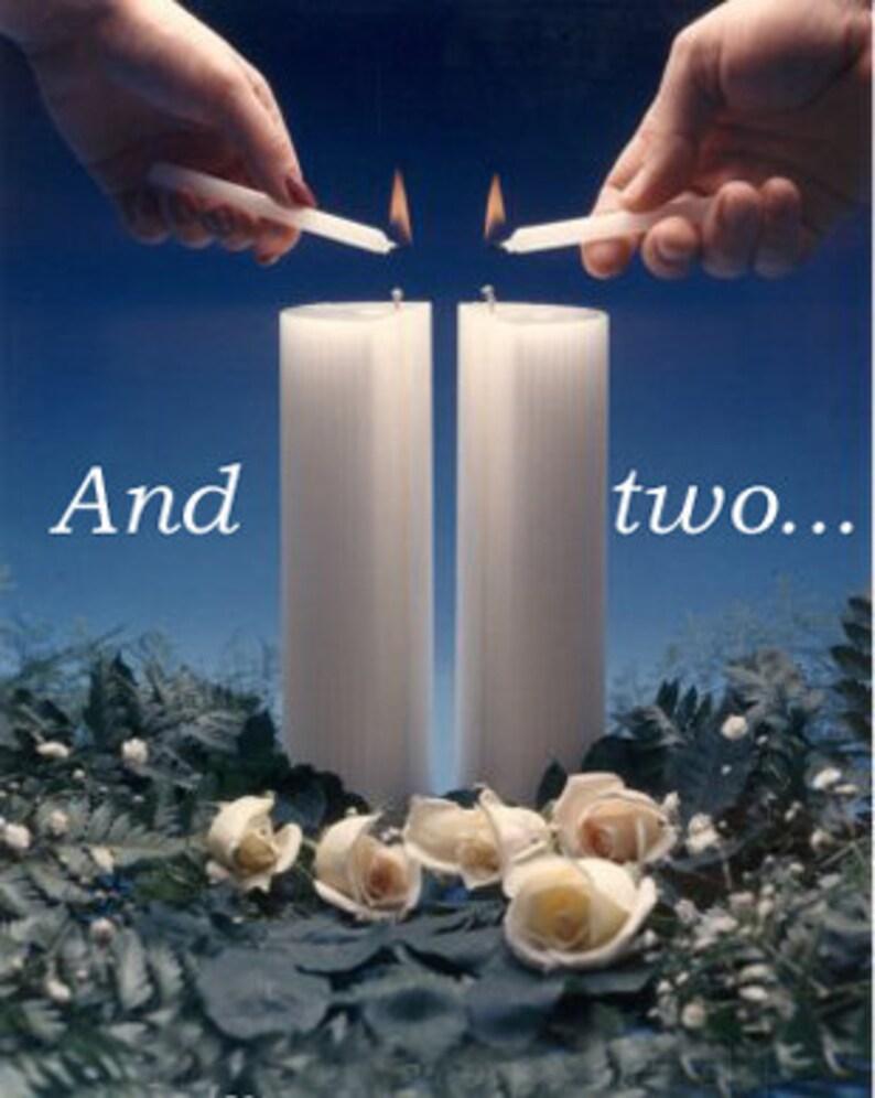 BiUnial Wedding Candle  WHITE or IVORY image 0