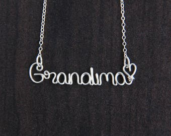 Grandma Necklace, Sterling Silver Jewelry, Name Necklace, Nana Gift, Gift for Grandma, Custom Name Jewelry