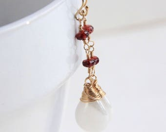 Red Sapphire and Opalite Dangle Earrings, 14k Gold filled Jewelry, Red and White Earrings, Valentines Day Gift For Her