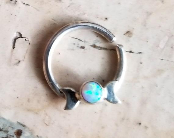 Opal Moon Lunar Phase Septum Nose Ring