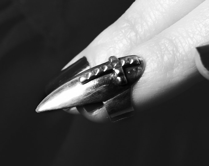 Featured listing image: Studded Cross Stiletto Midi Fake Nail Ring