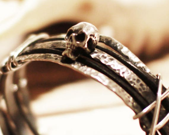 Silver Skull Bracelet, Mens Bangle, Gift for Boyfriend, Gift for Husband, Hipster, Punk Jewelry, Goth, Gothic, Leather Men, Tribal, Fashion