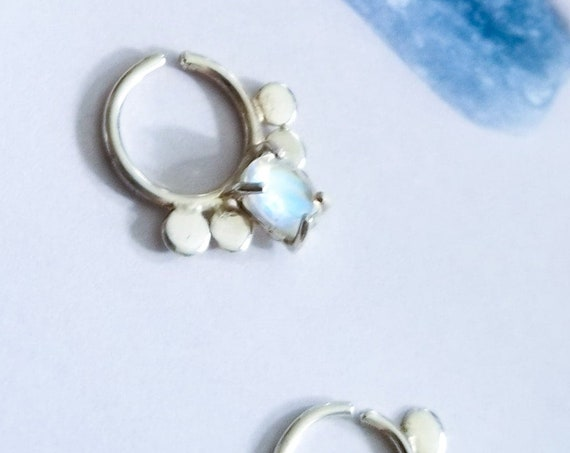 Rainbow Moonstone Statement Septum, Genuine Moonstone Gemstone Nose Ring, Unicorn, Moon Piercing Ring, Oversized Geometric, Bold, Festival