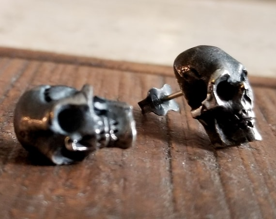 Rustic Skull Stud Post Earrings