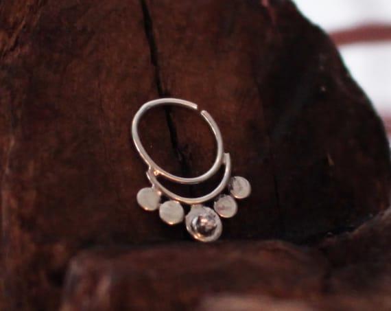 Silver Nose Ring, Boho Septum, Fake Nose Ring, Tragus Piercing, Nose Hoop, Gypsy Nose Ring, Minimal Septum, Festival Coachella, Faux Septum