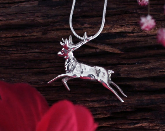 Silver Deer Pendant, Reindeer Pendant, Silver Winter Jewelry, Gift for Her, Christmas Stocking Filler, Fawn, Bambi Pendant, Nature Necklace