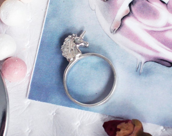 Silver Unicorn Ring, Fairytale, Gift for Girl, Child Ring, Horse, Kitsch Jewelry, Kawaii, Mythical, Ring for Girls, Licorne, Everyday, Teen