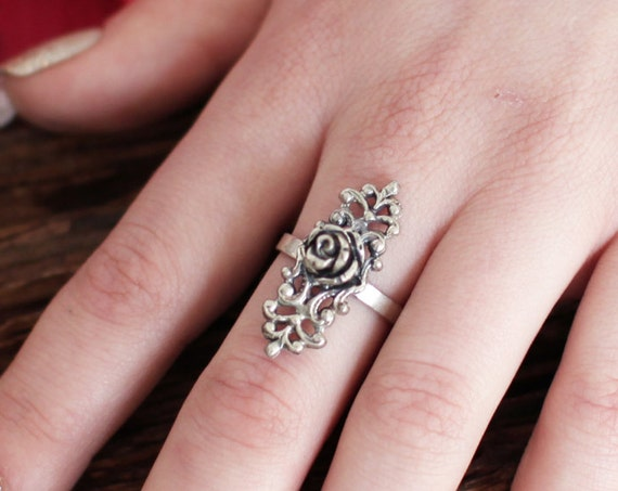 Silver Gothic Rose Ring, Victorian Rose Ring, Flower, Romantic, Gothic Lolita, Filigree Ring, Everyday Jewelry, Steampunk, Lace, Floral Gift