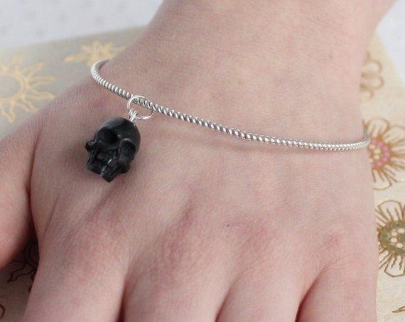 Black Skull Charm Bangle, Gothic Jewelry, Gothic Bracelet, Dainty Cuff, Hand Carved Skull, Pagan, Wiccan, Witch, Punk Jewelry, Creepy Cute