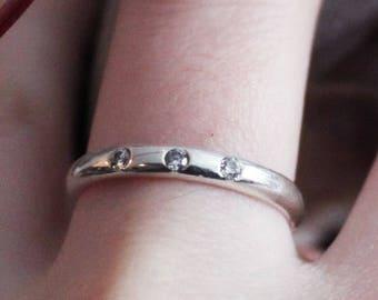 Flush Setting, White Zirconia Ring, 3 Non Diamond Ring, Trinity Ring, Wedding Band, Engagement Ring, Dainty Thin Ring, Faux Diamond Ring