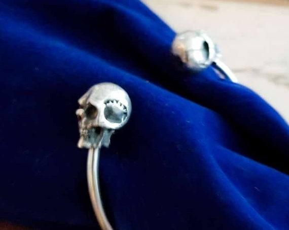 Mens Silver Skull Bracelet, Heavy Bracelet, Vampire, Gothic, Biker Jewelry, Alternative, Goth Fashion, Steampunk, Halloween, Skeleton, Rock