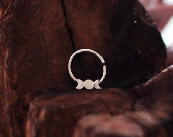 Moon Phase Septum, Witchy Septum, Moon Body Jewelry, Boho Nose Ring, Gypsy, Silver Piercing, Faux, Tribal, Crescent, Luna, Zodiac, Full Moon