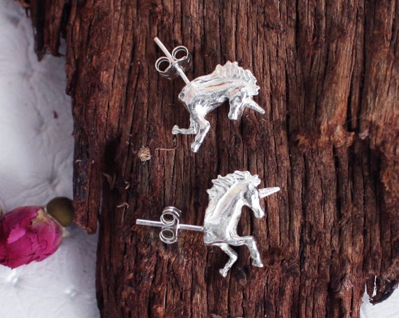 Silver Unicorn Earrings, Gift for Girl, Unicorn Stud Earrings, Fantasy Jewelry, Horse, Gift for Her, Fairytale, Licorne, Equestrian, Kitsch