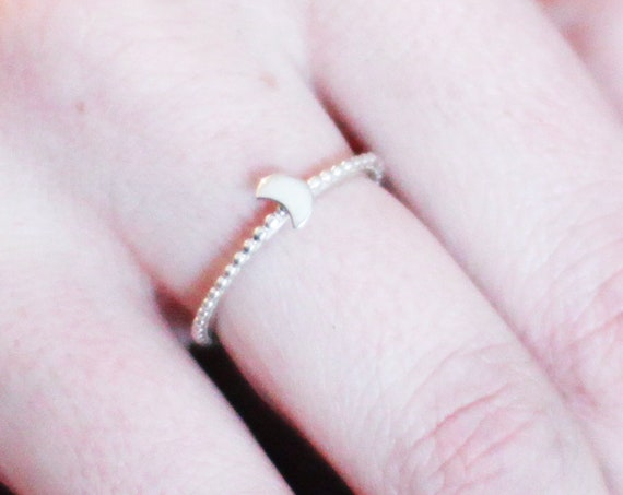 Stackable Crescent Moon Ring, Celestial Jewelry, Zodiac, Boho Chic, Witchy, Moon Goddess, Lunar Phase, Sun and Moon, Sailor Moon, Gift