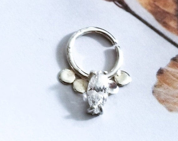 Elegant Tribal Septum, Cz Bold Nose Ring, Couture Tragus Jewelry, Edgy, Statement Nose Hoop, Wedding, Oversized, Indian, Nipple Ring, Boho