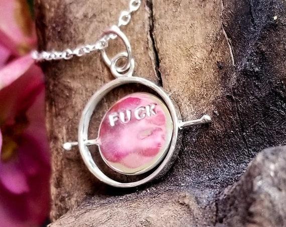 Fuck Off Spinning Pendant, Discreet Cursing, F**k You, Curse Words Humor, Birthday Gift, Feminist, Fuck It, Swear, Kinetic, Fidget Charm
