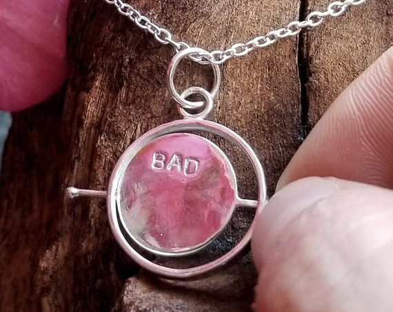 Bad Witch Fidget Spinner Pendant, Silver Kinetic Necklace, Witchy Jewelry, Witch, Curse, Evil, Wicca, Pagan, Occult, Magic, Witchcraft