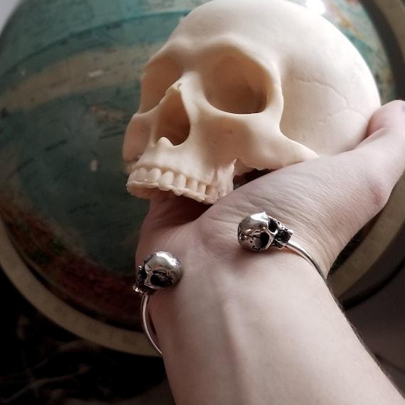 Adjustable Silver Skull Bracelet Cuff