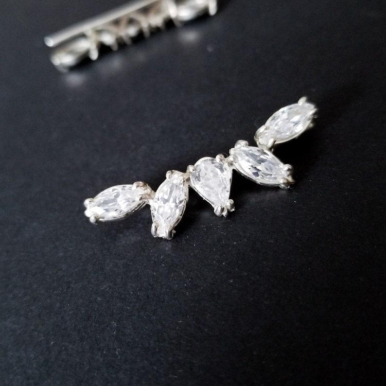 Bridal Ear Climber Cartilage Elegant Ear Sweep Engagement Crawlers Ear Cuff Ear Pin Earclimbers Wedding Jewelry Up the Ear Jewelry