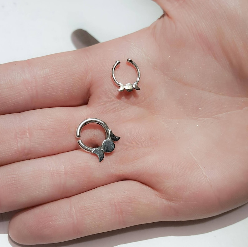 Celestial Lunar Phase Septum Moon Crescent Nose Ring Tribal Witchy Sailor Moon Moon Body Jewelry Silver Piercing Triple Goddess
