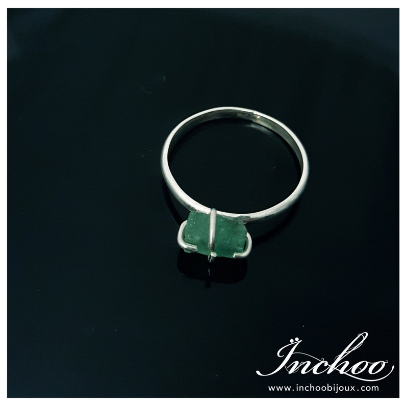 Raw Emerald Ring Solitaire Ring Green Emerald Dainty Rough Natural May Birthday Gift Rustic Raw May Birthstone Raw Gemstone Jewelry