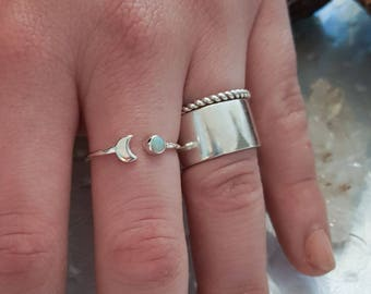 Opal Crescent Moon Ring, Half Moon and Sun, Thin Zodiac Ring, Tiny, Luna Stacking, Gift For October Birthday, Witchy, Sailor Moon, Celestial