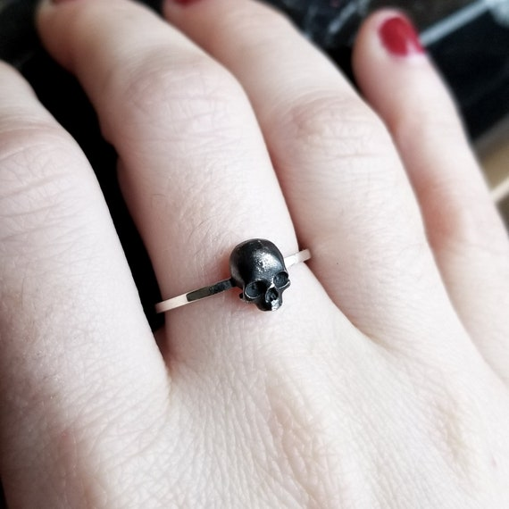 tiny-silver-skull-ring,-minimalist,-minimal,-taxidermy-jewelry,-bone,-wiccan,-goth,-gothic,-stackable,-dark-fashion,-sugar,-rustic,-death by etsy