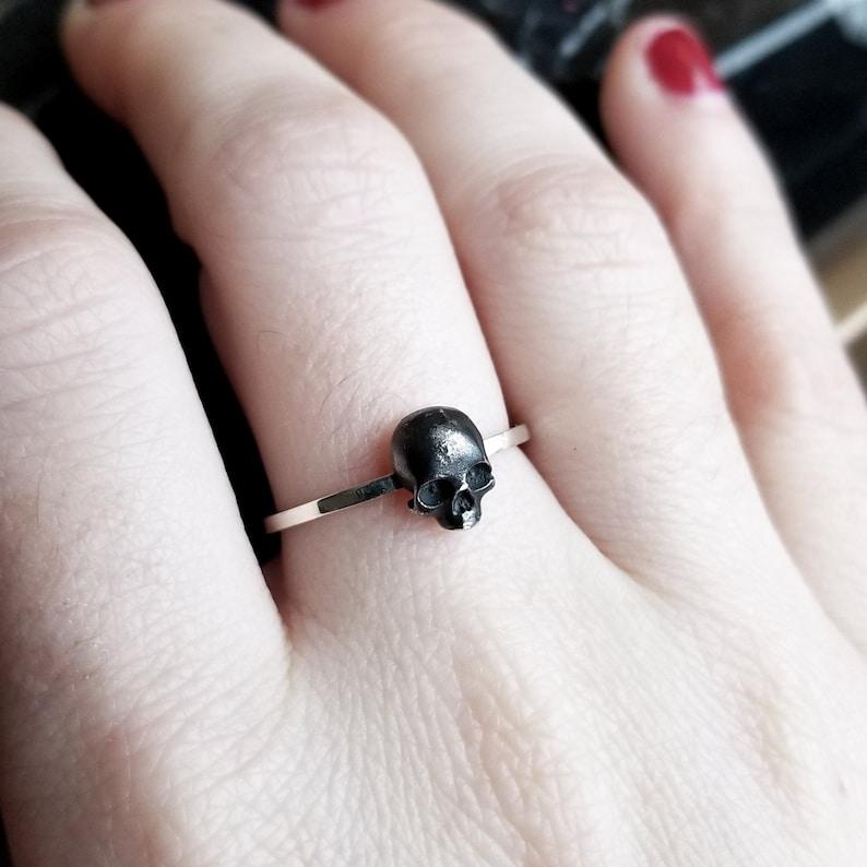 Tiny Silver Skull Ring Minimalist Minimal Taxidermy image 0