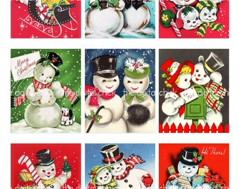 Digital Clipart Instant Download Vintage Christmas Card Snowman Snow Couples Candy Canes Mail 85 By 11 Collage Sheet 1365