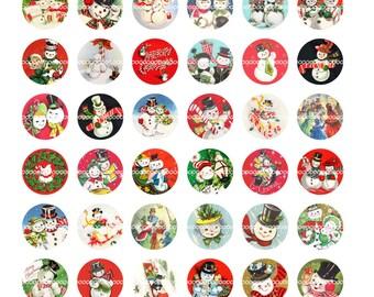Digital Clipart Instant Download Vintage Christmas Bottle Cap Snowman Snowmen Couples Winter Collage Sheet 85 By 11 Inches 1424