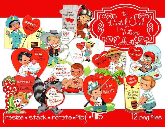 Digitale Clipart Sofortiger Download Vintage Valentinstag Etsy