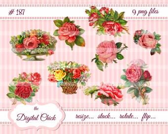 Digital Clipart, instant download,Vintage Rose Images--clipart--9 PNG files   187