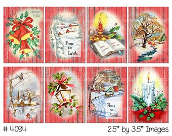 Digital Clipart, instant download, Vintage Christmas, snow scene, winter, holly, bells, candles--8.5 by 11--Digital Collage Sheet  4094