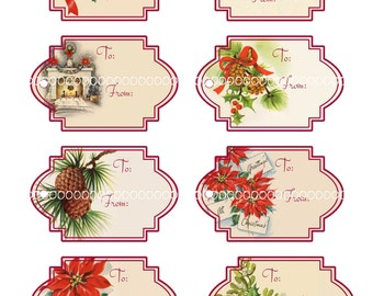 Digital Clipart, instant download, Vintage Christmas Tags--poinsettia, holly, pine cone, fireplace--8.5 by 11 Digital Collage Sheet 1227