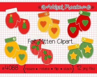 Digital Clipart, instant downloads,  Felt Mitten Pairs Images, trees, hearts, stars, holly--PNG Files 4088
