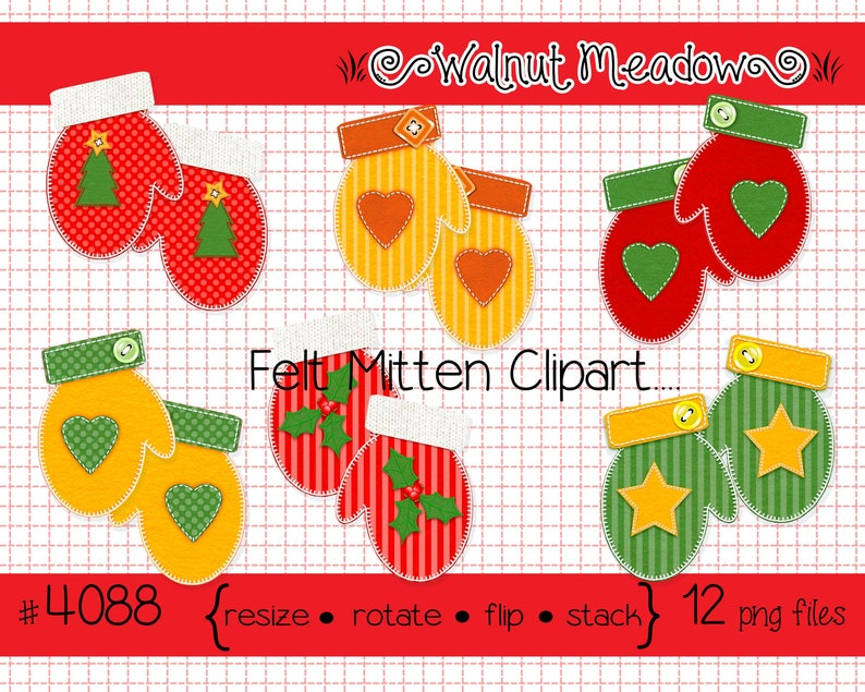 trees instant downloads Felt Mitten Pairs Images holly--PNG Files 4088 stars hearts Digital Clipart